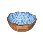 WCC3030BB Ξύλινο Μπωλ για Μπουφε φ30x11cm, Λουλούδι μπλε