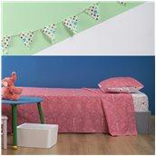ZOU-BD-013 Σετ Παιδικά Σεντόνια 160x260cm & Μαξιλαροθήκη 50x70cm, 100% βαμβάκι, 200 κλωστές, Μπάμπουρας, Ροζ