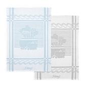 KTP2-5070-TG Σετ 2 Πετσέτες κουζίνας (ποτηρόπανο) 50x70cm (90gr), Ζακάρ, 100% βαμβάκι Αιγύπτου, τιρκουάζ+γκρι, fennel