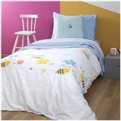 ZOU-BD-031 Σετ Παιδική Παπλωματοθήκη 160x240cm & Μαξιλαροθήκη 50x70cm, 100% Βαμβακι, 200 κλωστές,, Μέλισσα
