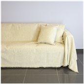 18C01IV4 Ριχτάρι τετραθέσιου καναπέ 350x180cm, ακρυλικό σενίλ, ιβουάρ, ελληνικής κατασκευής