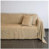 18C01BG3 Ριχτάρι τριθέσιου καναπέ 300x180cm, ακρυλικό σενίλ, μπεζ, ελληνικής κατασκευής