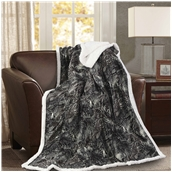 BMS390-130170-P003 Κουβέρτα καναπέ με γούνα, 190gsm Ming+200gsm sherpa, 130x170cm, fennel