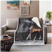 BMS390-130170-P004 Κουβέρτα καναπέ με γούνα, 190gsm Ming+200gsm sherpa, 130x170cm, fennel