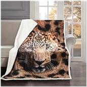 BMS390-130170-P001 Κουβέρτα καναπέ με γούνα, 190gsm Ming+200gsm sherpa, 130x170cm, fennel