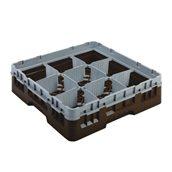 JD-09RB/BR Μπασκέτα Πλυντηρίου (κλειστού τύπου), 9 χωρίσματα, 50x50x14.3cm, καφέ