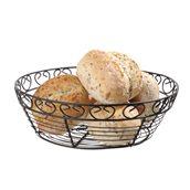 425862 Συρμάτινη ψωμιέρα/καλάθι, οβάλ φ25xΥ8cm, μεταλλική μαύρη ματ