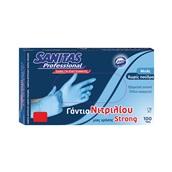8571040354 Σετ 100τεμ γάντια ΝΙΤΡΙΛΙΟΥ EXTRA STRONG, χωρίς πούδρα, μπλε, Medium