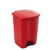 TR.1254/RD Κάδος πλαστικός με πεντάλ, STEP-ON, ενισχυμένος, 68Lt, 50.2x41x67.3cm, κόκκινος, TRUST
