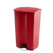 TR.1255/RD Κάδος πλαστικός με πεντάλ, STEP-ON, ενισχυμένος, 87Lt, 50.2x44.7x82.6cm, κόκκινος, TRUST