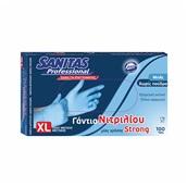 8571040356 Σετ 100τεμ γάντια ΝΙΤΡΙΛΙΟΥ EXTRA STRONG, χωρίς πούδρα, μπλε, XL