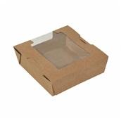 P009260 Χάρτνο κουτί, Kraft με παράθυρο, 13x13x5cm, μιας χρήσης, ROIS Bros