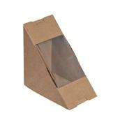 P005509 Χάρτινη θήκη, Kraft με παράθυρο για sandwich (τρίγωνο), 17.5x12.5x5cm, μιας χρήσης, ROIS Bros