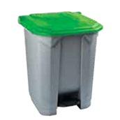 KDNR-70LT/GN Κάδος πλαστικός 70Lt, με πεντάλ, γκρι, πράσινο καπάκι, 53x44xΥ74cm