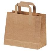 002.08.000 Χάρτινη Τσάντα Take-Away, με χεράκι και πάτο, χρώμα KRAFT, 32x21x29cm