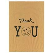 70.05.00 Χάρτινη Σακούλα (τιμή κιλού), σε χρώμα KRAFT με σχέδιο THANK YOU, μεγάλη 25x38cm