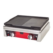 DRNPDIZG-50-LPG Επιφάνεια Ψησίματος - πλατό Γκαζιού LPG, Λείο/Ραβδωτό, 50x50x20cm, 6KW, 5208Kcal, DRN