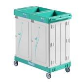 LINE-410S Καρότσι καθαριότητας πλαστικό 2 κλειστών χώρων με συρτάρι, γκρι TTS Cleaning