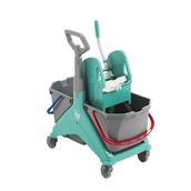 TTS.00006162DVE Καρότσι NICKITA TEC σφουγγαρίσματος με πρέσσα & 2 κουβάδες 15lt, TTS Cleaning